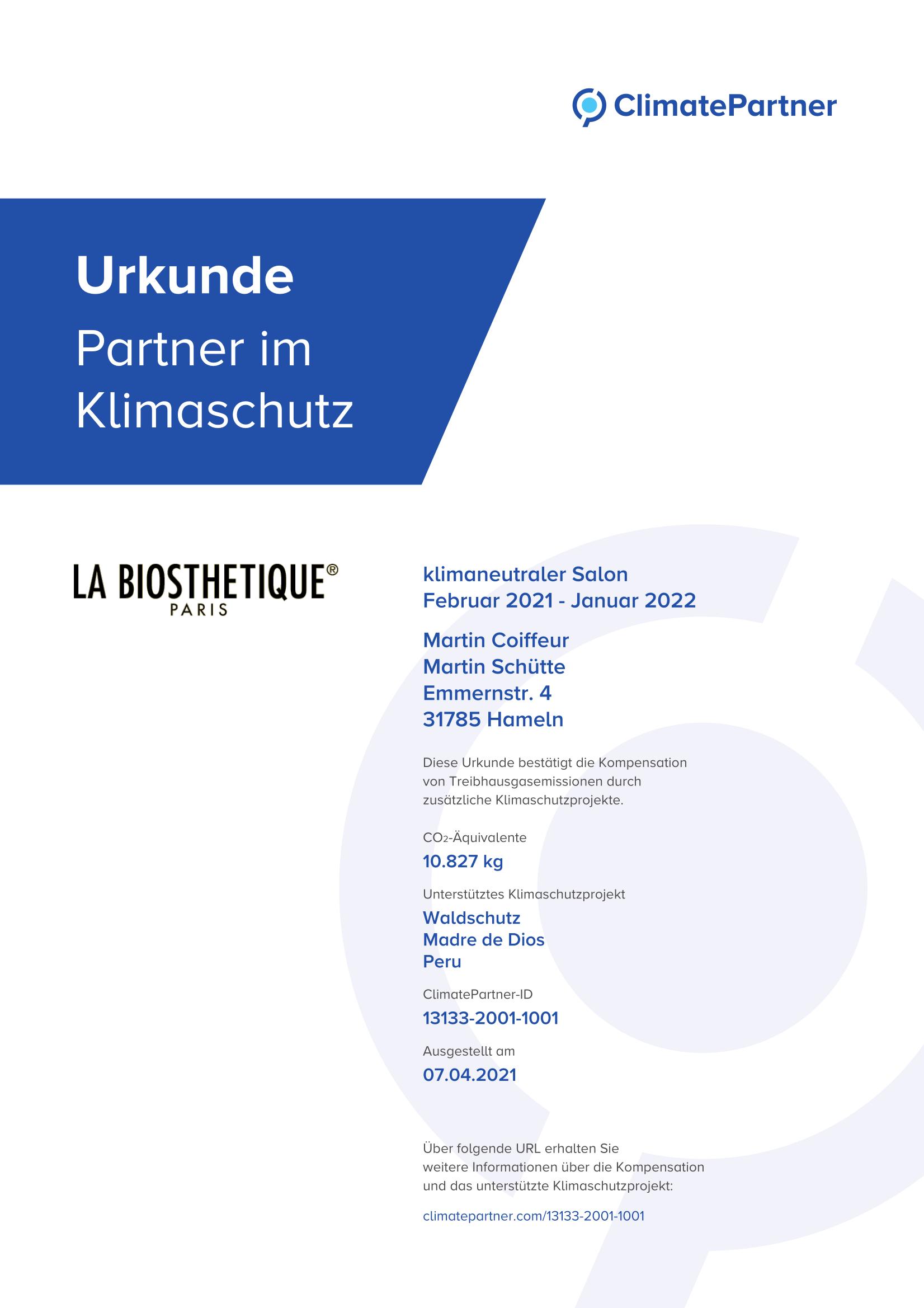 Urkunde Partner im Klimaschutz